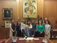 Bordeaux trainee teachers work each year in primary schools in South Bristol - here hosted by the Lord Mayor.