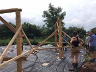 Roundhouse timber frame is constructed