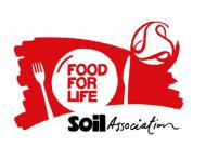 The words 'Food for Life' on a white plate with a knife and fork, on a red background