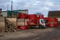 Lorry and Skip in Bateman Skips Yard, Keynsham
