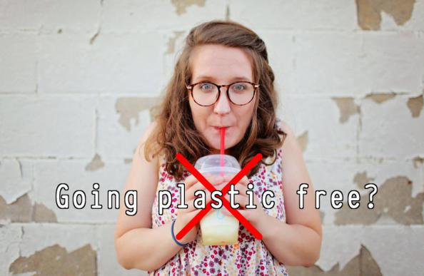 Plastic free - person with plastic cup and straw